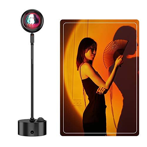 180° Rotation Lámpara de Proyección Sunset, Sunset Lights LED Sunset Projection Foor Lamp, Luz de Decoración de Dormitorio, para Decoración ,Fondo,Dormitorio,Bodas (rojo atardecer)