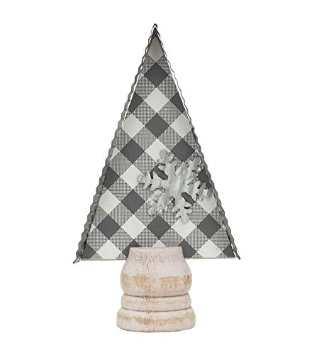 Mini Christmas Tree Shape Tabletop Decor, Wood and Galvanized Metal Xmas Ornaments with Cutout Metal Snowflake,Grey and White Plaid Background,A1