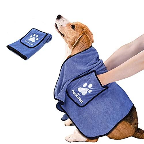 Nobleza - Hundehandtuch mit Hand Taschen, Weich Schnelltrocknend Hundehandtuch Extra Saugfähig Groß, Mikrofaser Hundebademantel Handtuch für Hunde/Katzen, Langlebiges Hunde-Badehandtuch, 106 * 66 cm