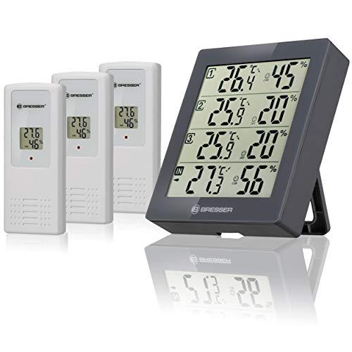 Bresser Wetterstation Funk mit Außensensor Temeo Hygro Quadro inklusive 3 Außensensoren um bei 4 Umgebungen gleichzeitig Temperatur und Luftfeuchtigkeit zu messen und zu kontrollieren, grau