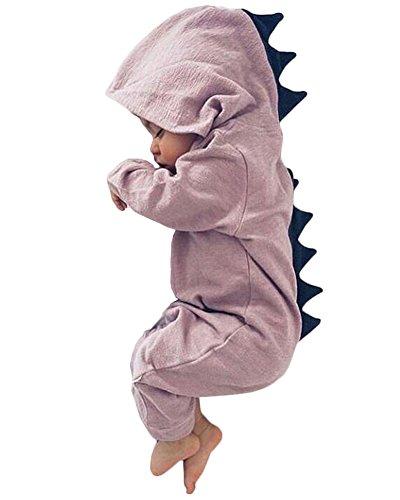 Minetom Baby Herbst Karikatur Dinosaurier Overalls Jumpsuit Kind Jungen Mädchen Kleinkind EIN Stück Lange Ärmel Spielanzug Violett 90cm