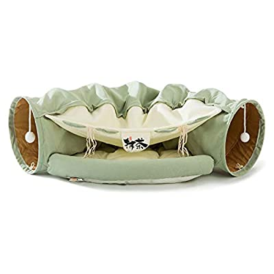 HIPIPET Cat Tunnel Bed Soft Warm Scratch-Resistant Cat Tunnels for Indoor Cats Tunnel Tube with Removable Washable Mat (Matcha) from HIPIPET