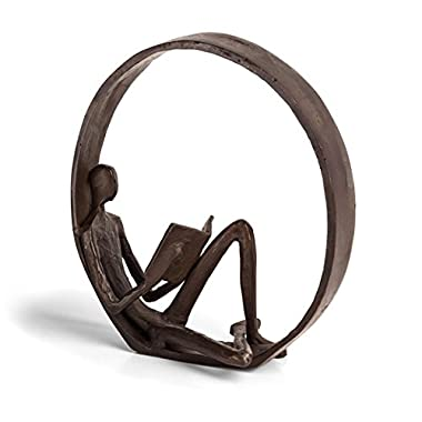 Danya B Encircled Reader Iron Sculpture - Modern and Elegant Design – Metal Art - Contemporary Home and Office Décor