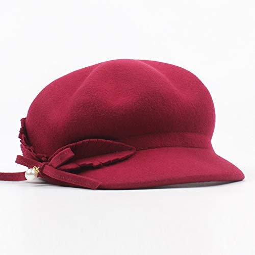 GHC Casquettes et Chapeaux Bonnet de Laine Chapeau Hiver Femmes Béret Pearl Bow Buttery Octagonal Cap (Color : Wine Red, Size : Adjustable)
