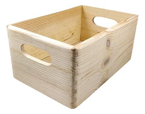 Holzkiste / Holzbox, ca. 30x20x14cm - unbehandelte Kiefer natur, stapelbar, stabil, abgerundete Ecken, Grifflöcher - Stapelbox zum Basteln, Bemalen, zum Aufbewahren & Ordnen, für Spielzeug (Kiefer)