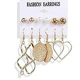 FEARRIN Earrings Bulk Circle Round Pearl Hoop Earrings Set for Women Bohemian Acrylic Crystal Brincos Earring Jewelry LNI00426