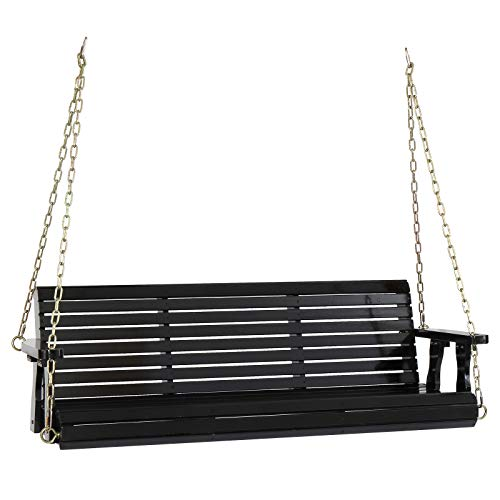 VINGLI Upgraded Wooden Patio Porch Swing for Courtyard & Garden, Heavy Duty 880 LBS Swing Chair Bench with Hanging Chains for Outdoors (5 FT, Black)