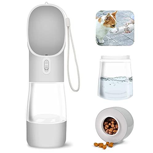 WR WPAIER 2 in 1 Hund Wasserflasche, Wasser und Nahrung Flasche Haustier Katze Travel Trinkflasche Tragbare Reise Trinkflasche Wasserspender für Unterwegs Outdoor (grau)