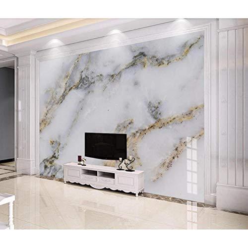 Dwqlx Moderne Weiße Marmor Tapete 3D Wandbild Für Tv Hintergrund Wanddekor Gold Wandbilder Foto Gedruckt Tapeten Für Schlafzimmer-450X300Cm