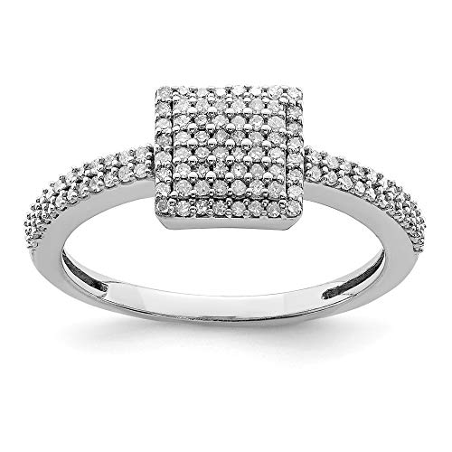 ICE CARATS 925 Sterling Silver Diamond Square Band Ring Size 6.00 Fine Jewelry Ideal Gifts For Women Gift Set From Heart