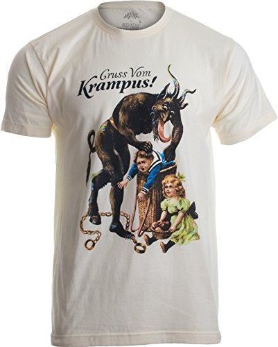 Gruss Vom Krampus! | (Greetings from) Germanic Christmas Demon Unisex T-Shirt-(Adult,L) Tan