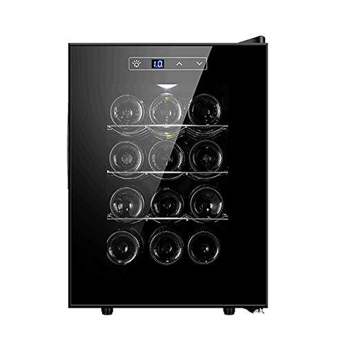 MINGDIAN Refrigerador Enfriador de Vino con compresor de 12 Botellas con Cerradura | Gran Bodega Independiente | Refrigerador de Vino con Control de Temperatura Digital 41f-64f - Negro