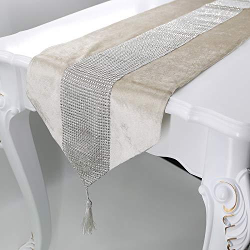 Deggodech La Simple de Corredor Mesa Banquete Diamante Upscale Home Decor Classic Coffee Table Cloth (Beige, 32x185cm)