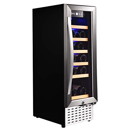 11' Wine Cooler Under Counter Wine Cooler 18 Bottles Single Zone Built-In Freestanding Stainless Steel Double-Layer Tempered Digital Temperature Memory Function Glass Door(41-68°F)