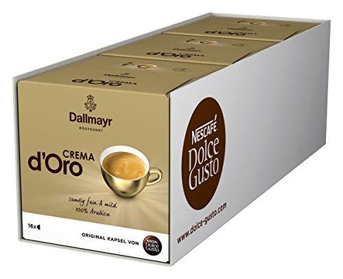 NESCAFÉ Dolce Gusto Dallmayr Crema d\'Oro   48 Kaffeekapseln   100{bcf878fe59d680a4ee78116551f451376a4c73195770eff851082d00abd089ab} Arabica-Bohnen   Feine Crema und vollmundiges Aroma   Schnelle Zubereitung   Aromaversiegelte Kapseln   3er Pack (3 x 16 Kapseln)