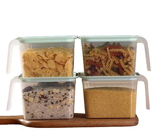 Nuvx Juego de 4 recipientes de plástico con asa cuadrada para almacenamiento de alimentos, cajas organizadoras con tapas para nevera, congelador, gabinete, cubos pequeños de 15 x 15 x 10,5 cm