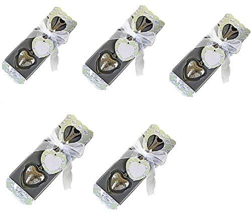 EVRYLON Bomboniere per Matrimonio Battesimo Comunione Colore Bianco Complete di scatolino infusore Te Confezione 5 Pezzi Ottima Idea Regalo