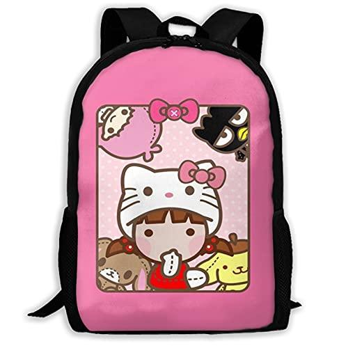 Mochilas de ordenador portátil Hello Kitty cabeza pegatinas escuela libro bolsa para hombres mujeres/niños adolescentes campus lindo viaje mochila