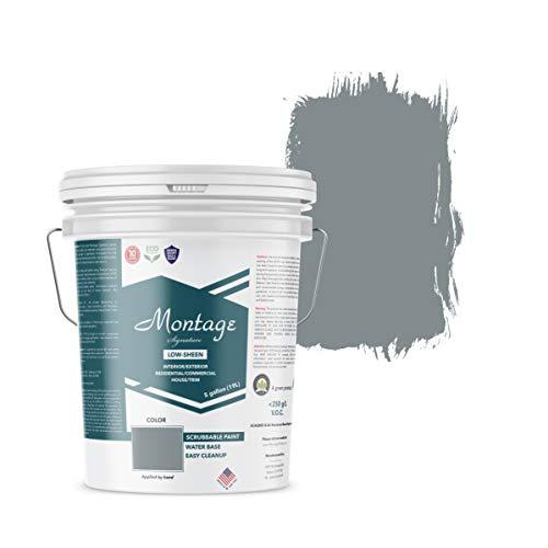 Montage Signature Paint 810593030557 Low Sheen Interior/Exterior Eco-Friendly Paint, 5 Gallon, Blue Bayou