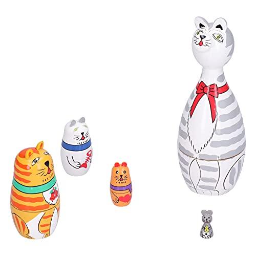 Muñecas anidadas, 5 Piezas Kit de muñecas anidadas Dibujos Animados innovadores Adorno de Gato de Cuello Largo Artesanía de Madera Regalo Festivo