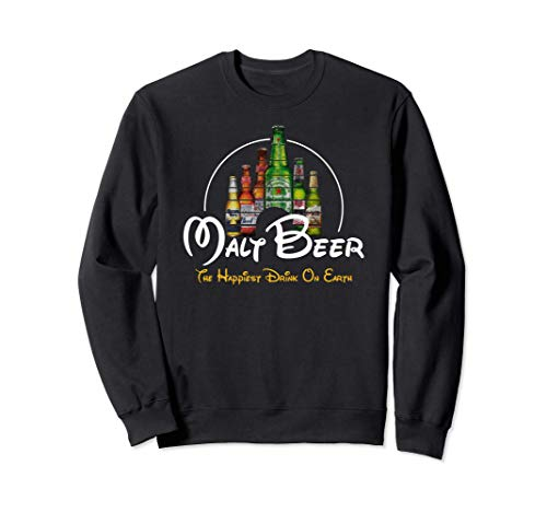 Malt Beer Shirt, Happiest Drink on Earth Fun Cerveza Parodia Sudadera