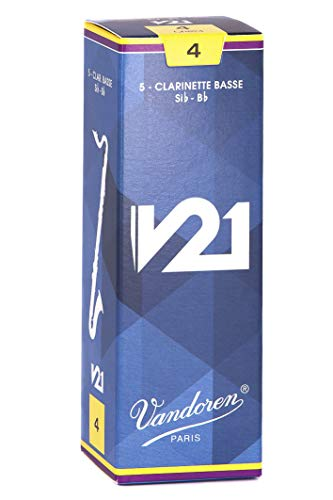 Vandoren CR824 Bass Clarinet V21 Reeds Strength 4, Box of 5