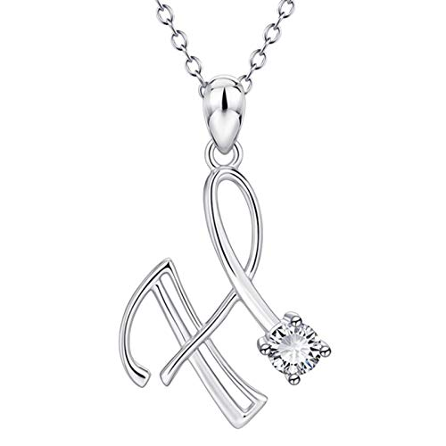Hins Silver Initial Letter Necklaces for Women, 26 Letter A-Z Necklaces Alloy First Letter Name Chain Pendant Diamond Elegant Rhinestone Jewelry Christmas for Ladies Girls