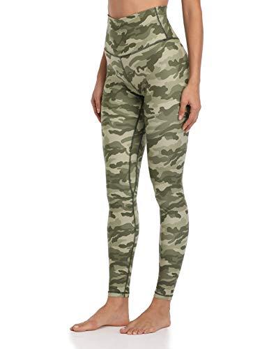 Colorfulkoala Women s High Waisted Pattern Leggings Full-Length Yoga Pants (L, Green & Beige Mixed Camo)