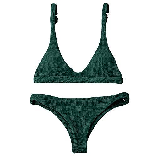 ZAFUL Women Padded Scoop Neck 2 Pieces Push Up Swimsuit Revealing Thong Bikinis V Bottom Style Brazilian Bottom Bra Sets(Green M)