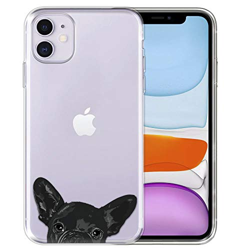 FINCIBO Case Compatible with Apple iPhone 11 6.1 inch 2019, Clear Transparent TPU Silicone Protector Case Cover Soft Gel Skin for iPhone 11 (NOT FIT 11 Pro) - French Bulldog Puppy Dog Black