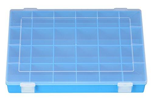 hünersdorff Sortimentskasten: stabile Sortierbox (PP) mit fester Fachaufteilung (24 Fächer), Sortierkasten-Maße: T225 x B335 x H55 mm, Made in Germany