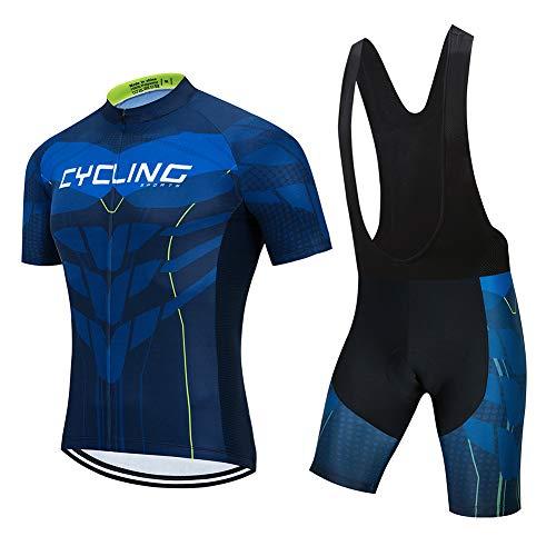 Ydshyth heren fietsshirt set fiets shirt korte mouwen fietsbroek ademende broek met 3D zitkussen jongens meisjes mountainbike fietsshirt, A, XL