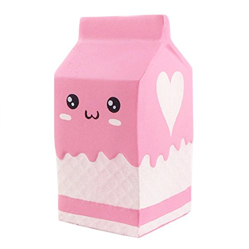 Dream Room 12 cm Squishy Milch Flasche Rosa Squishies Slow Rising Squeeze Toys Nice Soft Dekompression Spielzeug Langsamer Rückstoß PU-Spielzeug Duftenden für Jungen Mädchen (a)