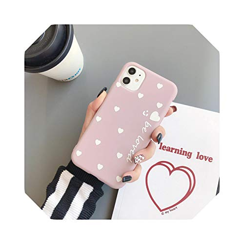 Carcasa para iPhone 11 12 Pro Max 6 6s 7 8 Plus X XR 11 Pro XS Max se 2020 Cute Love Heart Soft TPU para iPhone X Case-Light Pink-for iPhone 6 6S