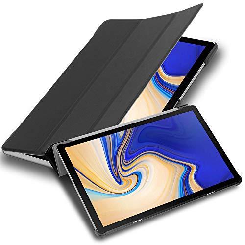 """Cadorabo Tablet Hülle für Samsung Galaxy Tab S4 (10,5"""" Zoll) T830 / T835 in Satin SCHWARZ – Ultra Dünne Book Style Schutzhülle mit Auto Wake Up und Standfunktion aus Kunstleder"""