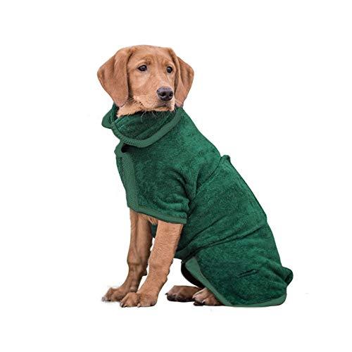 PETTOM Hundebademantel Mikrofaser, Badezubehör Badetuch Schnelltrockend Hund, Bademantel für Kleine Mittlere und Große Hunde (Grün,S)