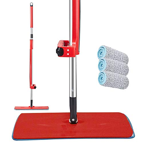 Microfiber Mop – Mops for Floor Cleaning – Cleaning Mop for Hardwood Floors, Tiles and More – Reusable 360 Swivel Head – Self-Wringing Floor Mop – 3 Large Cleaning Pads Included – Machine Washable Mop