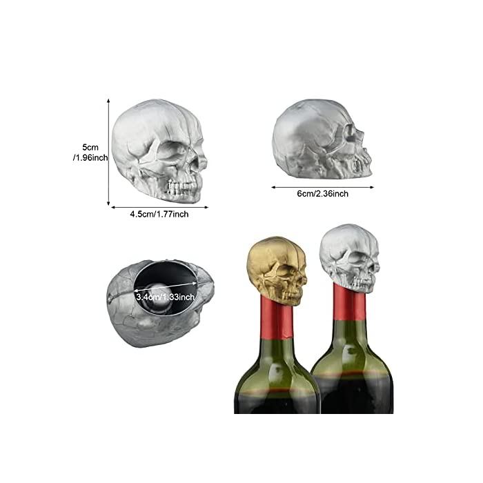 2 Pcs Skull Wine Stopper Silicone Reusable Decorative Beverage Bottle Stopper Vacuum Saver Stopper With Rubber Seal For Wine Caps For Champagne Beer Beverage To Keep Freshbronze Ancient Silve