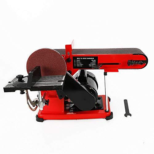 Bench Belt Disc Sander,375W 1/2HP Electric Bench Belt and Disc,Adjustable Sanding Belt Angle Guide and Adjustable Working Table Sander Grinder Kit for Metalworking Wood 45°