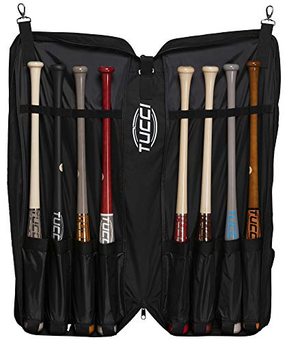 Tucci Team Bat Holder Bag for Baseball and Softball Bats, Hanging Portfolio (Holds 8 Bats)