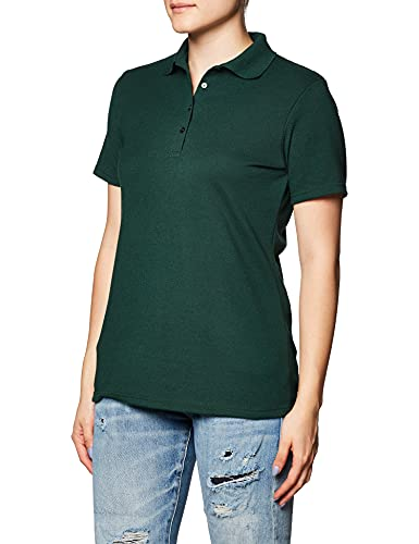 Hanes Women's X-temp Polo With Freshiq, deep forest, Small