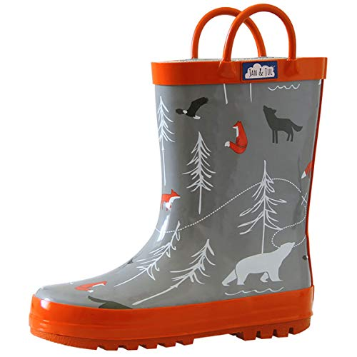 JAN & JUL Baby Boy Natural Rubber Rain Boots (Size 5 with Elastic, Dinosaurs)