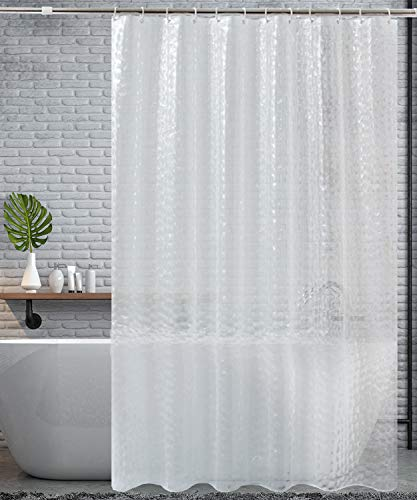 HOMMINI Duschvorhang Anti Schimmel PEVA Badewannenvorhang Anti bakteriell 3D Wasserwürfel Halbtransparent Shower Curtains mit 12 Vorhangring-180 x 180 cm(Halbtransparent Weiß)