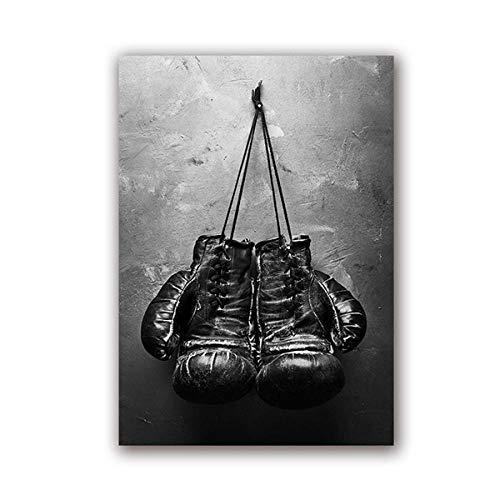 Vintage Art Boxhandschuhe Poster Druck auf Leinwand Schwarz-Weiß-Wandbild Sportgemälde für Wohnzimmer Wohnkultur 40x60cm ohne Rahmen