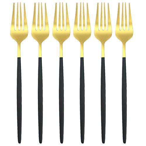 HaushaltKuche Cubiertos 6pcs / Colorido Conjunto Juego de Cubiertos de Acero Inoxidable 304 Cena Forks Forks Conjunto Occidental del vajilla de Cocina Conjunto de platería (Color : Black Gold)