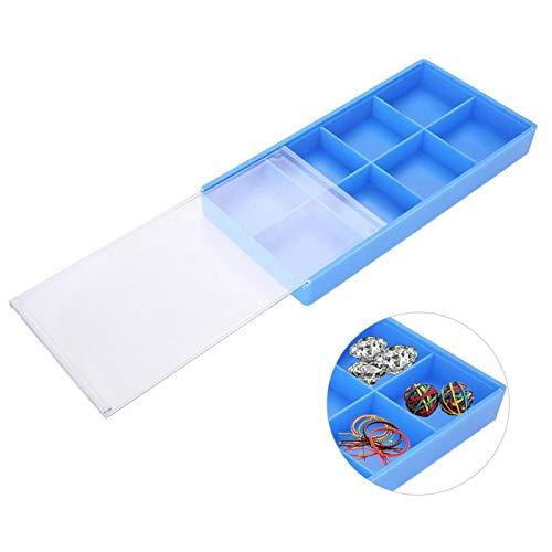 Caja de almacenamiento de plástico con tapa deslizante, 8 compartimentos Caja de almacenamiento Organizador de joyas Estuches de relojes Joyas Pendientes Contenedores para herramientas