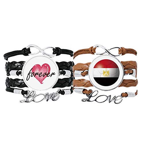 DIYthinker Armband mit ägyptischer Nationalflagge, Fußball-Armband, Handschlaufe, Lederseil, Forever Love, Doppel-Set