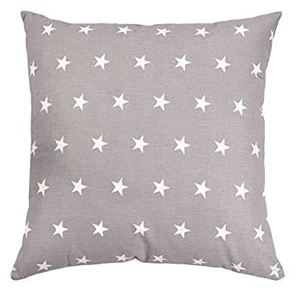Funda de cojín de 40 x 40 cm, de algodón, para niños, 40 x 40 cm, diseño de estrellas blancas sobre gris, algodón y minky gris)