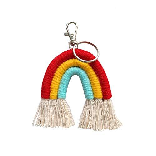 Yushu Llavero con diseño de arco iris, diseño bohemio, bolsa de macramé, colgante de coche para llavero de cordón, manualidades, accesorios de joyería hechos a mano