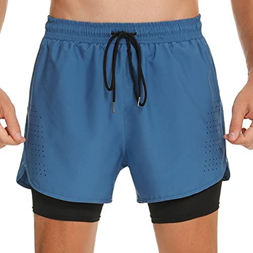 Wayleb Pantalones Cortos Deportivos Hombre Verano con Compresión Interna Pantalon Corto Deporte Hombre Transpirable Secado Rápido Shorts con Bolsillo para Correr Jogging